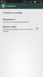 Contactos bloqueados WhatsApp